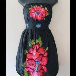DESIGUAL strapless floral bubble dress Size 38